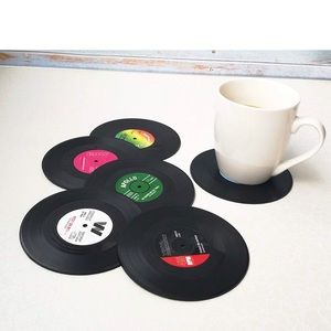 Vinyl Record Drink Coasters (Set of 6) New Novelty